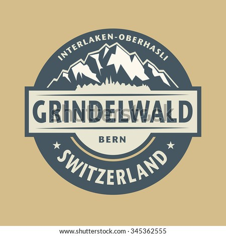 Abstract stamp with the name of town Grindelwald in Switzerland, vector illustration - stock vector