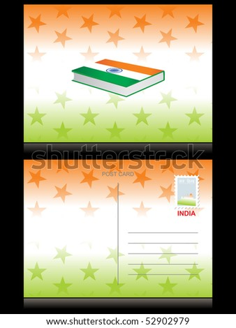 abstract star background with book in indian flag color - stock vector