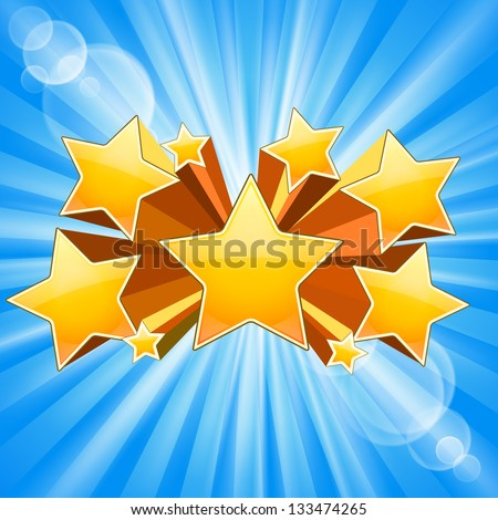 Abstract Star Burst Background with rays flare - stock vector