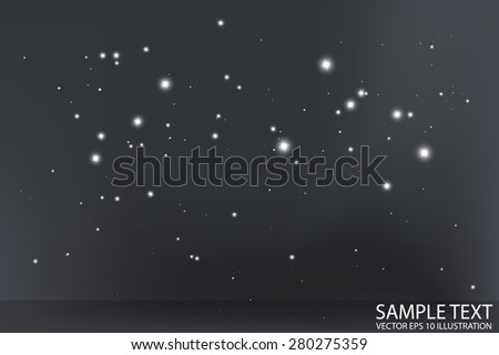 Abstract star field vector background template - Vector shiny sparkles by in dark space background illustration - stock vector