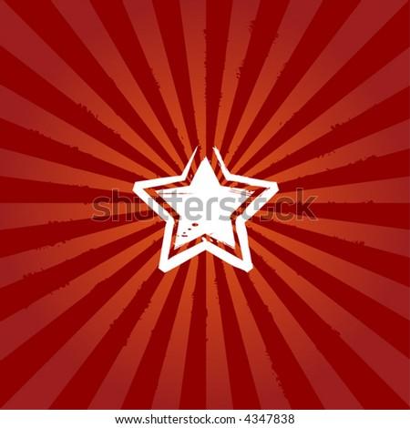Abstract star on sunburst background - stock vector