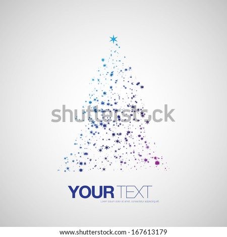 Abstract star pattern christmas tree design with your text  Eps 10 vector illustration  - stock vector