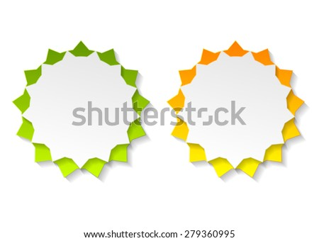 Abstract star shape bright stickers. Vector design - stock vector
