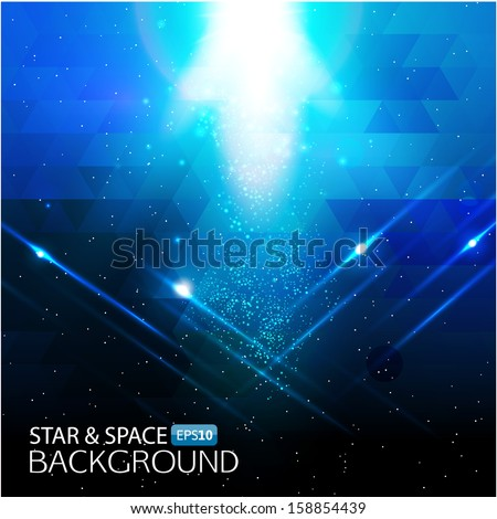 Abstract star&space background with light effects. Vector image. - stock vector