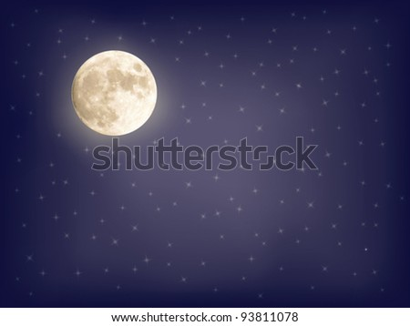 abstract starry background with full moon vector illustration - stock vector