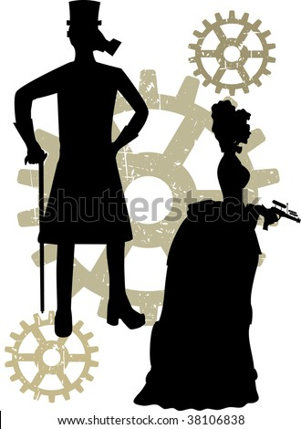 Abstract steampunk male and woman with rustic grunge gears - stock vector