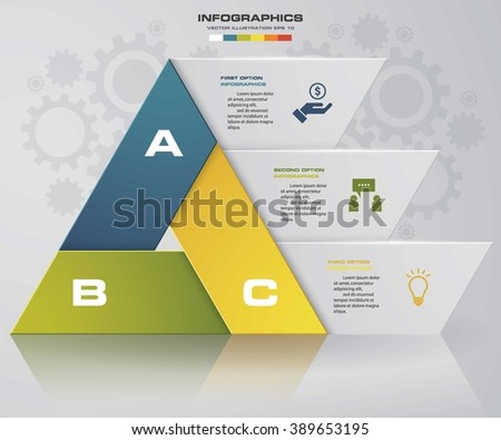 Abstract 3 steps chart in triangle shape with clean banners template/graphic or website layout. Vector. EPS10. - stock vector
