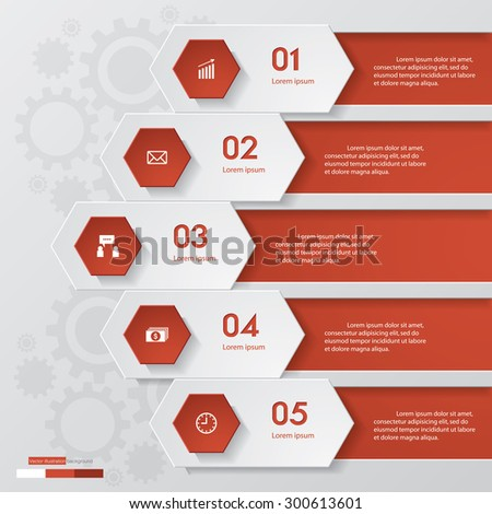 Abstract 5 steps infographics elements.Vector illustration. - stock vector