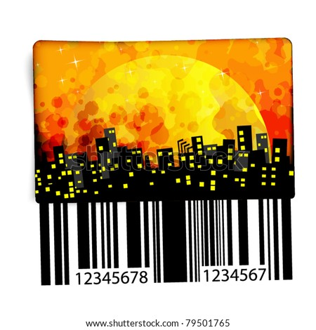 Abstract sticker with code - night town