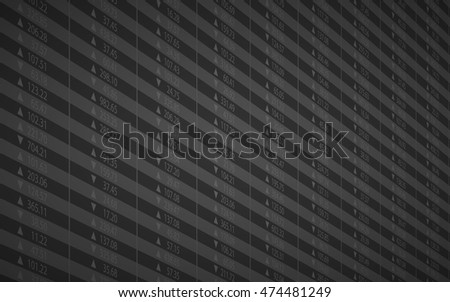 Abstract stock numbers and business chart on market screen in gray color background (vector)