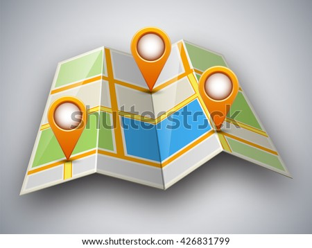Abstract street map icon with map pointer and shadow isolated on light grey background. Mapping points on city map, map pointers, mark place signs