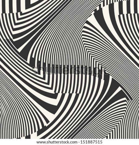Abstract striped textured geometric seamless pattern. Vector. - stock vector