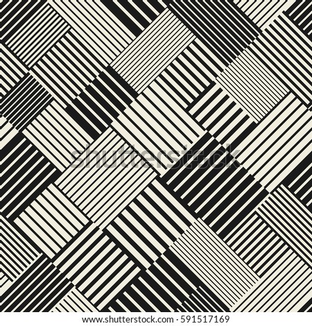 Abstract striped textured geometric seamless pattern. Vector.