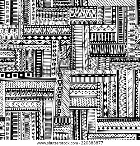 Abstract Striped Textured Geometric Tribal Seamless Pattern Vector Black And White Background Endless Texture