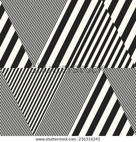 Abstract striped textured refracted zigzag geometric background. Seamless pattern. Vector. - stock vector