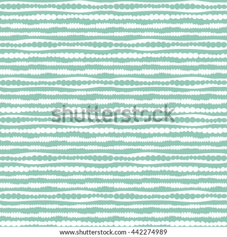 Abstract stripes pattern. Vector seamless geometric doodle ornament. White and green lines wallpaper. - stock vector