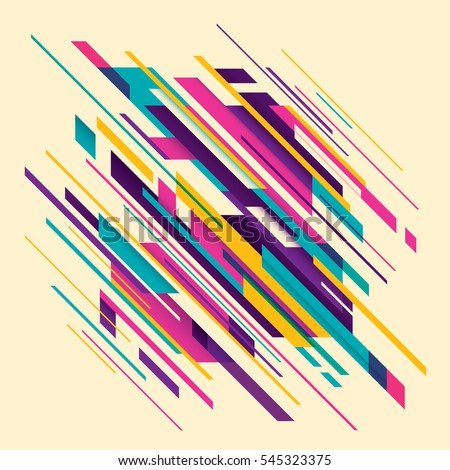 Abstract style composition with geometric shapes in various colors. Vector illustration.