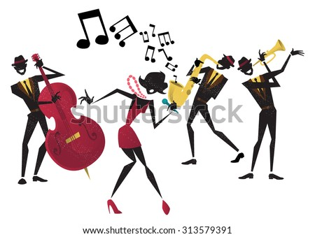 Abstract style illustration of a vibrant Jazz band and super cool lead singer who is striking a stylish pose and playing a musical performance live on stage.