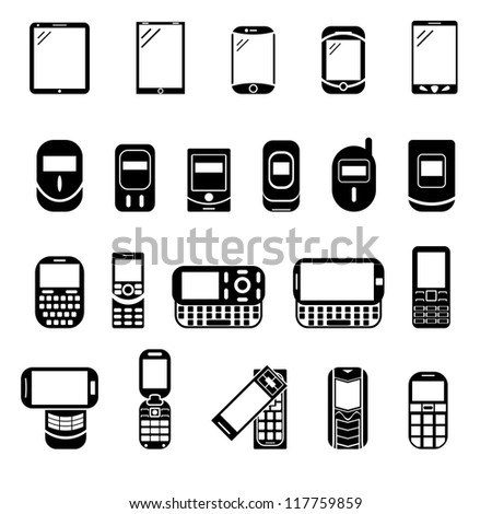 Abstract style modern and vintage mobile gadgets. Black phone icons. Different icons with phone. - stock vector