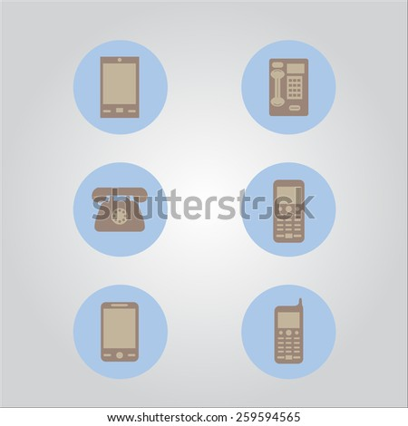 Abstract style modern and vintage mobile  icons vector - stock vector