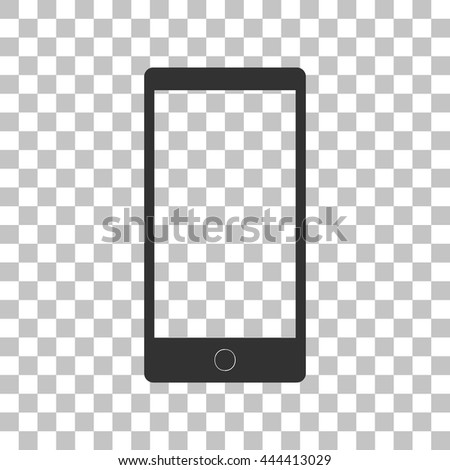 Abstract style modern gadget with blank screen. Template for any content. Dark gray icon on transparent background. - stock vector