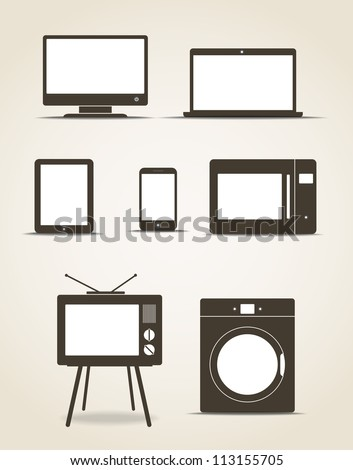 Abstract style modern gadgets and kitchen technics - stock vector