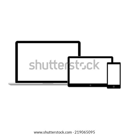 Abstract style modern gadgets with blank screen. Template for any content - stock vector