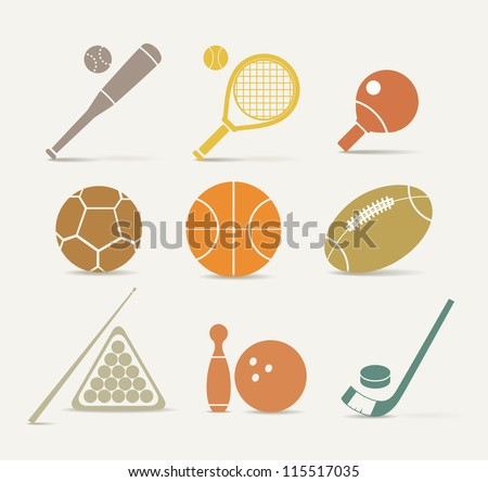 Abstract style sports equipment icons - stock vector