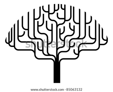 Abstract stylised tree silhouette illustration design element. - stock vector