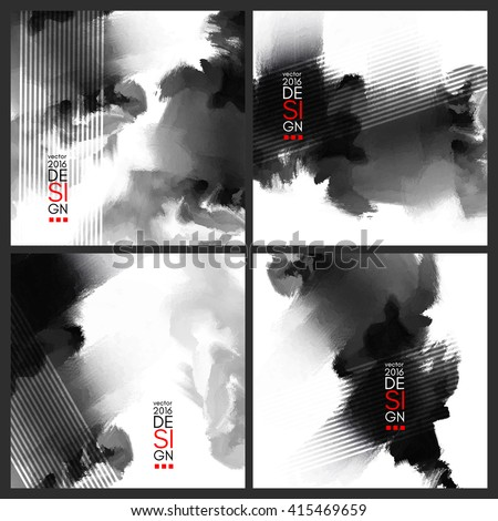 Abstract stylish background Black ink paint. Black blot isolated on white square. Grunge watercolor banner. Painting. Wallpaper with empty space for your text. Vector illustration set. - stock vector