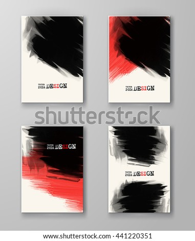 Abstract stylish background black red ink paint. Black red blot isolated on white. Grunge watercolor banner. Painting. Wallpaper with empty space for your text. Brochure set. Vector illustration. - stock vector