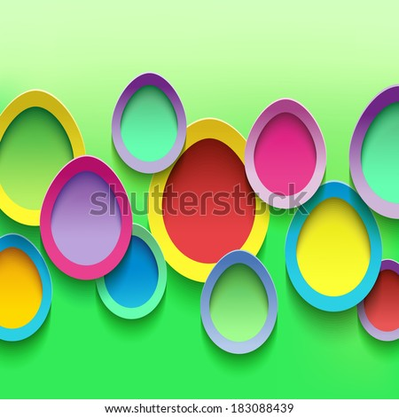 Abstract stylish background with colorful cut paper 3d Easter eggs. Easter card with Easter eggs. Beautiful trendy Easter background. Vector illustration