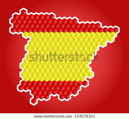 Abstract stylish  colorful map of Spain, vector - stock vector