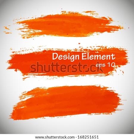 Abstract stylish orange brush, acrylic paint. Vector illustration  - stock vector