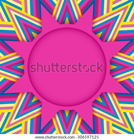 Abstract stylish pink round text or photo template on varicolored decorative background - stock vector