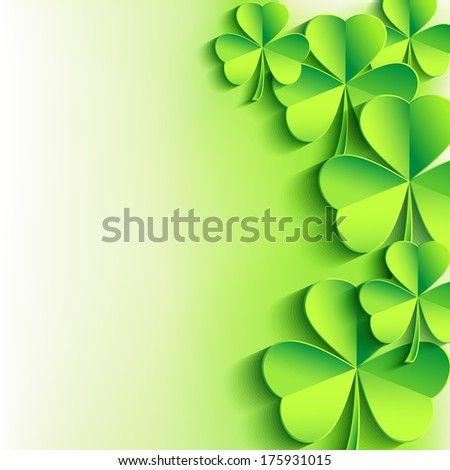 Abstract stylish St. Patrick's day background with green leaf clover. Trendy floral background. St. Patrick day card. Vector illustration  - stock vector