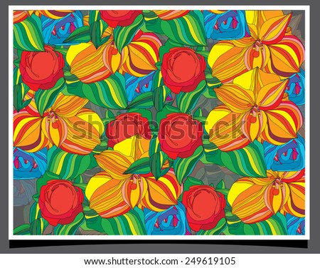 abstract stylized backdrop is filled with colorful flowers on a gray background - stock vector