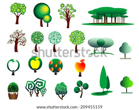 Abstract stylized cartoon style tree icons isolated on white colored background, suitable for ecology, environment, logo and bio design