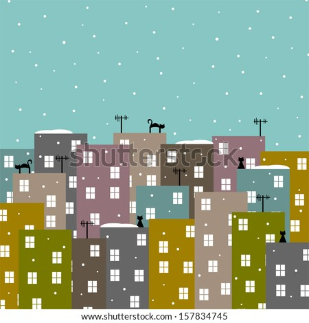 abstract stylized city in winter vector illustration - stock vector