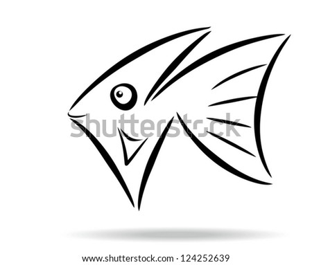 Abstract stylized fish symbol - stock vector