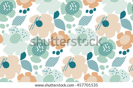 abstract stylized floral. abstract pale color floral seamless pattern. modern textured  geometry flower vector illustration. pastel green and beige daisy in 60s style on white background