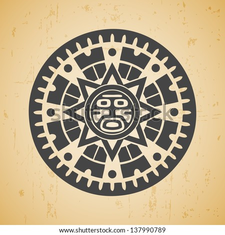 Abstract stylized maya sun symbol on beige background