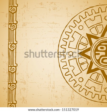 Abstract stylized maya sun symbol on beige background - stock vector