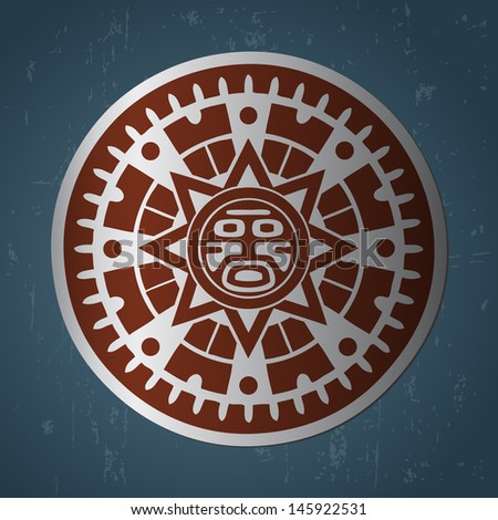 Abstract stylized maya sun symbol on dark blue background - stock vector