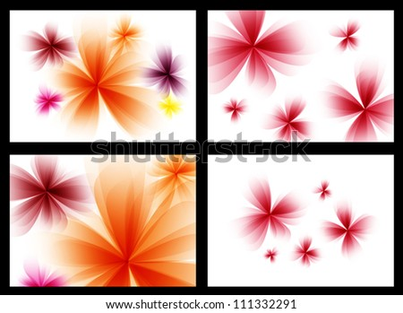 Abstract stylized red vector flowers set. - stock vector