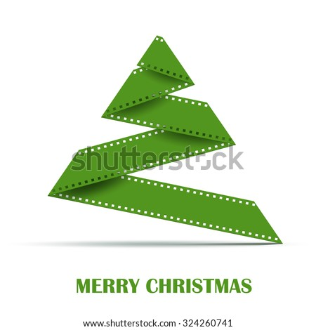 Abstract Stylizes Christmas Tree made from Film Strip . Design Template Background for Greeting Card - stock vector