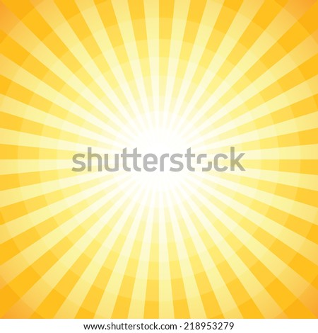 Abstract summer background, sunburst design (NO TRANSPARENCY) - stock vector
