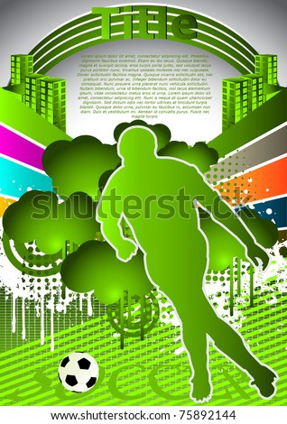 Abstract summer background with soccer player silhouette
