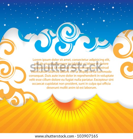 Abstract summer design sky background - stock vector