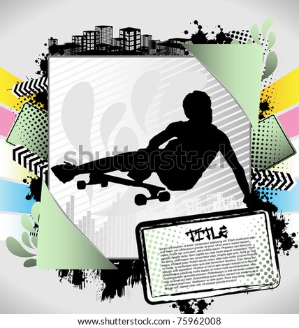 Abstract summer frame with longboarder silhouette - stock vector
